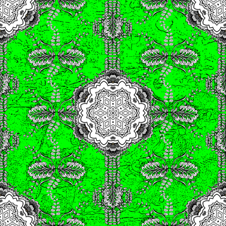 Oriental vector classic green and golden pattern. Abstract background. Illustration