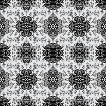 Gray background with dim elements. Vector illustration. Oriental style arabesques. Vector dim pattern. Seamless dim textured curls.