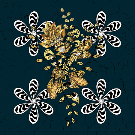Vector geometric background. Golden pattern on blue background with golden elements. Golden color illustration. For your design, sketch.