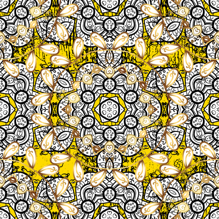 Classic vector yellow and golden pattern. Traditional orient ornament. Classic vintage background. Illustration