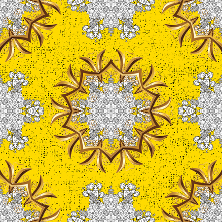 ?attern on yellow background with golden elements. Vector golden pattern. Oriental style arabesques. Golden textured curls.