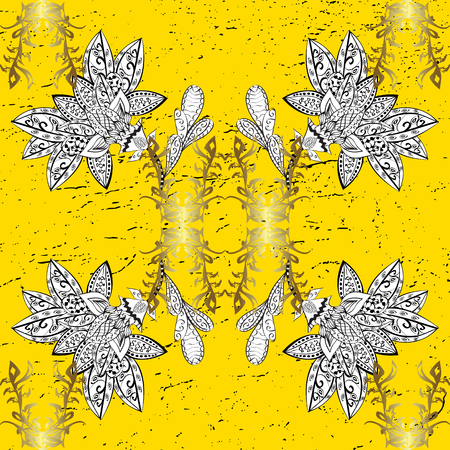 Yellow on background. Royal luxury golden baroque damask vintage. Vector pattern background sketch with gold antique floral medieval decorative 3d flowers, leaves and gold pattern ornaments. Illustration