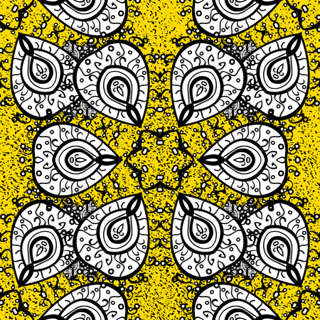 Vector white pattern. White textured curls. Oriental style arabesques. ?attern on yellow background with white elements.