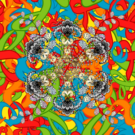 elaborate: Vector Mandala. Colored round ornament pattern on a background.