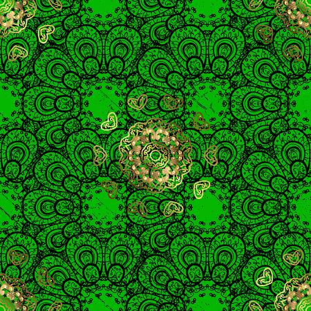 Golden textured curls. Oriental style arabesques. Vector golden pattern. Green background with golden elements. Illustration