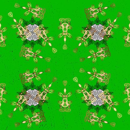 attern: Vector golden pattern. ?attern on green background with golden elements. Golden textured curls. Oriental style arabesques.