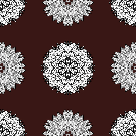 minaret: Abstract sketch, wrapping decoration. White snowflake simple seamless pattern. Vector white pattern on brown background. Symbol of winter, Merry Christmas holiday, Happy New Year 2018. Illustration