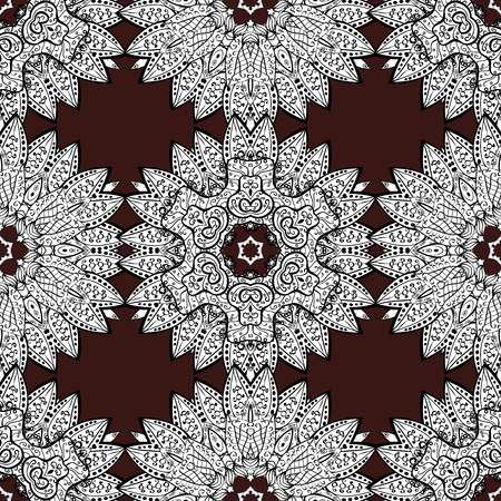 Luxury, royal and Victorian concept. Vintage baroque floral seamless pattern in white over brown. Ornate vector decoration. White element on brown background.