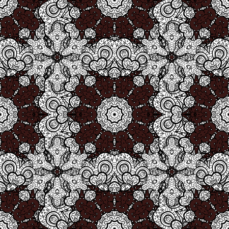 Abstract sketch, wrapping decoration. White snowflake simple seamless pattern. Vector white pattern on brown background. Symbol of winter, Merry Christmas holiday, Happy New Year 2018. Illustration