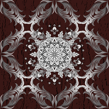 tillable: White on brown background. Good for greeting card for birthday, invitation or banner. Seamless medieval floral royal pattern. Decorative symmetry arabesque. Vector illustration. Illustration