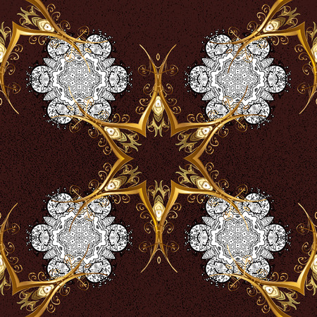 Golden pattern on brown background with golden elements. Ornate vector decoration. Damask pattern background for sketch design in the style of Baroque. Illustration