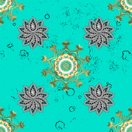 drapes: Oriental ornament in the style of baroque. Vector traditional classic golden pattern. Blue on background. Illustration