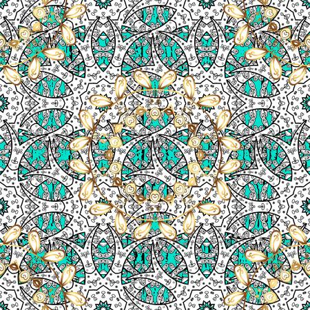 attern: Golden textured curls. Vector golden pattern. ?attern on blue background with golden elements. Oriental style arabesques. Illustration