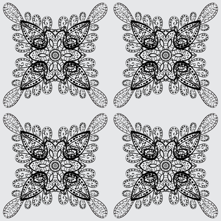 tillable: Dim Sketch on texture background. Dim floral ornament in baroque style. Dim element on gray background. Damask seamless repeating background. Illustration
