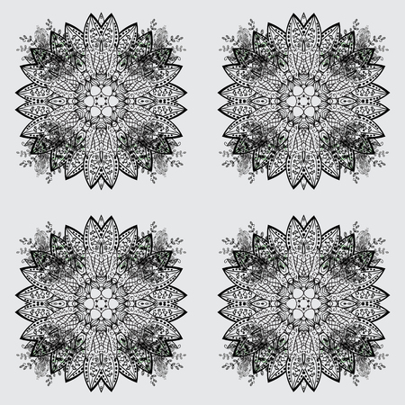 Seamless textured curls. Oriental style arabesques dim pattern on a gray background with dim elements. Vector dim pattern. Illustration