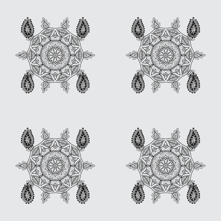 Seamless medieval floral royal pattern. Decorative symmetry arabesque. Vector illustration. Dim on gray background. Good for greeting card for birthday, invitation or banner. Illustration