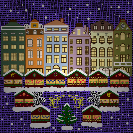 Cityscape. Winter nature landscape. Vector. Winter in the city, Christmas decor fir-trees.