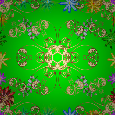 Vintage vector floral seamless pattern in green colors.