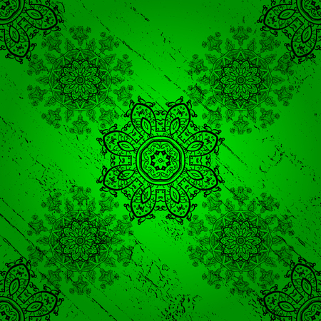 Pattern on green background with dark elements. Traditional orient ornament. Classic vintage background. Vector illustration. Classic vector dark pattern. Illustration