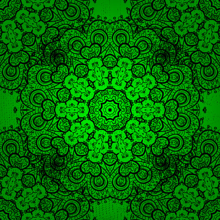 Vintage pattern on green background with dark elements. Christmas, snowflake, new year. Illustration