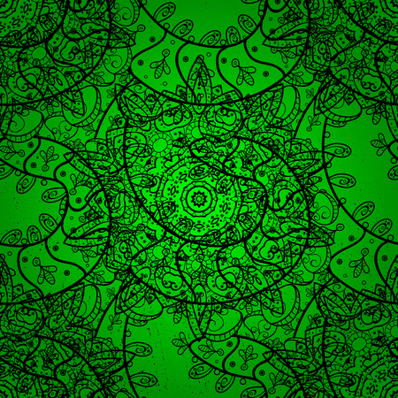 Traditional orient ornament. Classic vector dark pattern. Classic vintage background. Vector illustration. Pattern on green background with dark elements.