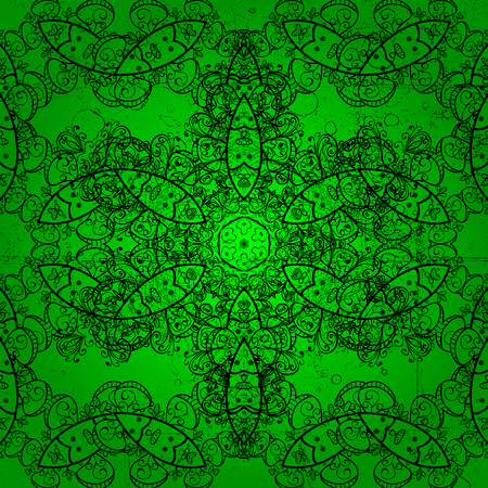 Dark pattern on green background with dark elements. Vintage pattern on green background with dark elements. Christmas, snowflake, new year.