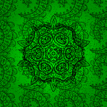 Traditional indian style, ornamental floral elements for henna tattoo, stickers, flash temporary tattoo, mehndi and yoga design, cards and prints. Vector sketch of colored mehndi mandala on green.