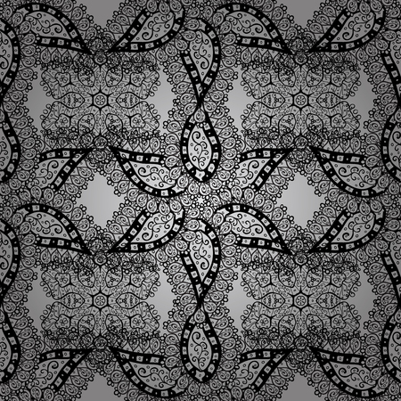 Seamless white pattern. Vector oriental ornament. Seamless pattern on gray background with white elements.