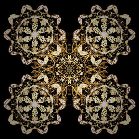Damask repeating background. Golden floral ornament in baroque style. Antique repeatable sketch. Doodles element on golden background.