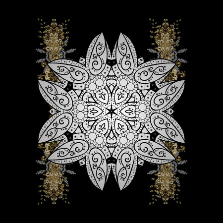 Snowflakes winter New Year. Vector in black colors on black background with doodles and golden elements.