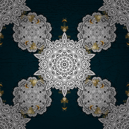 Oriental vector classic blue and golden pattern. Abstract background.