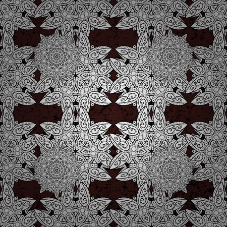 Seamless classic vector brown and white pattern. Traditional orient ornament. Classic vintage background.