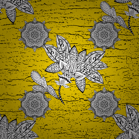 Yellow background with white elements. Oriental ornament in the style of baroque. Traditional classic vector white pattern.