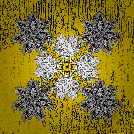 embellishment: Vector abstract background with repeating elements. Yellow on background. Oriental classic golden pattern. Illustration
