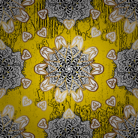 Yellow background with golden elements. Golden textured curls. Vector golden pattern. Oriental style arabesques.