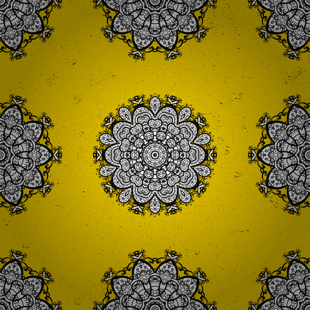 Gray yellow floral ornament in baroque style. Antique gray repeatable sketch.Gray element on yellow background. Damask pattern repeating background. Illustration
