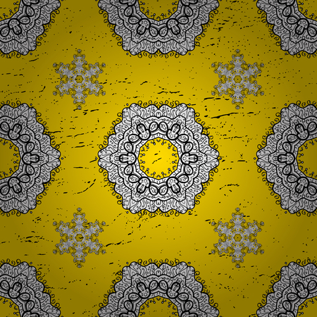 Classic vector yellow and gray pattern. Traditional orient ornament. Classic vintage background.