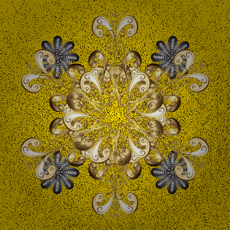Gold yellow floral ornament in baroque style. Golden element on yellow background. Gold Sketch on texture background.Damask pattern repeating background. Illustration