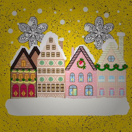 Vector. New year holidays. Winter houses, road, tree. Winter in the city, christmas decor fir-trees. Vector. Greeting card, poster design. Cute town Christmas eve. Cityscape. Winter nature landscape. Illustration