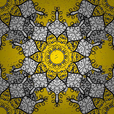 Damask dim yellow floral flower pattern background on vector. Ornate vector decoration.