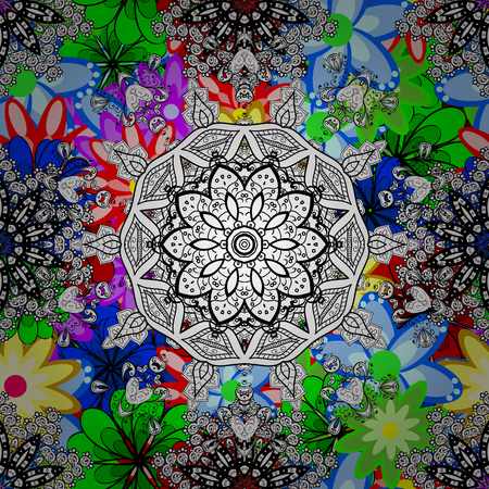 Vector colored design abstract mandala sacred geometry illustration on a background.