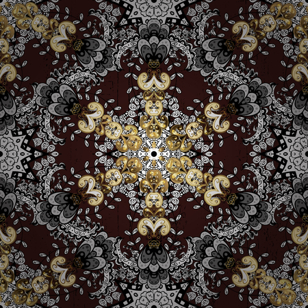 Abstract background. Oriental vector classic brown and golden pattern.