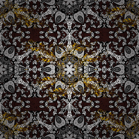Brown background with golden elements. Oriental ornament in the style of baroque. Traditional classic vector golden pattern. Illustration