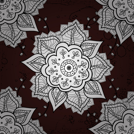 Vector illustration. Damask white abstract flower seamless pattern on brown background. Ornate decoration. Иллюстрация