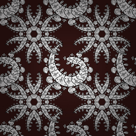 tillable: Classic vintage background. Seamless classic vector white pattern. Traditional orient ornament. White pattern on brown background with white elements. Illustration