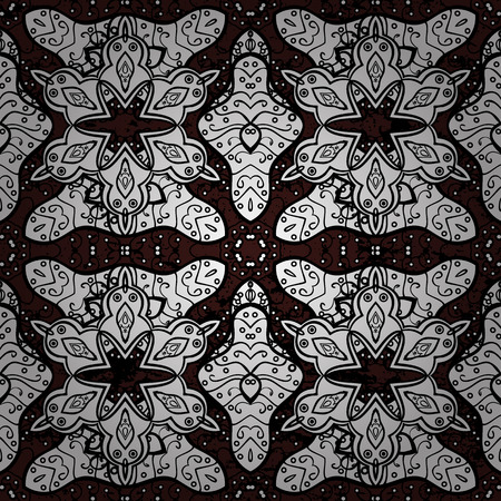 Vector traditional orient ornament. White pattern on brown background with white elements. Seamless classic white pattern.