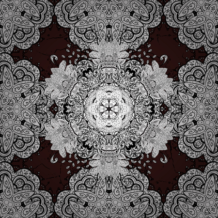 Traditional vector and white pattern. Classic oriental pattern over brown background. Damask ornamental ornament. Фото со стока - 77473060