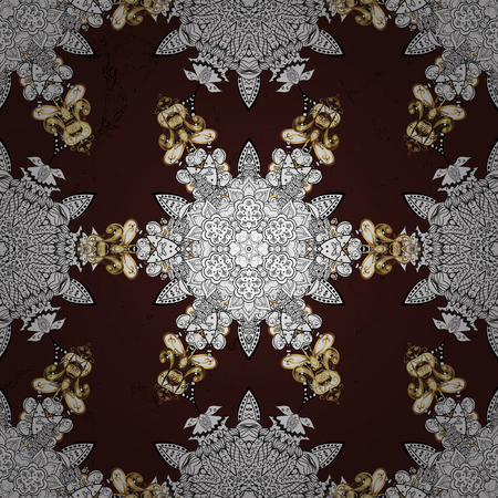 A Vector illustration. Vintage pattern on a brown background with golden elements. Иллюстрация