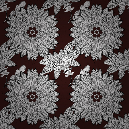 Ornamental white pattern. Vector oriental ornament. Ornamental pattern on brown background with white elements.