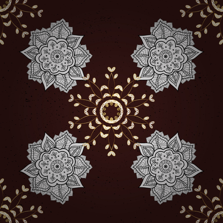 Brown background with golden elements. Oriental ornament in the style of baroque. Traditional classic vector golden pattern. Иллюстрация